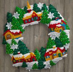 Snow Village Bucilla felt wreath. Available at MerryStockings on 2/26/16.