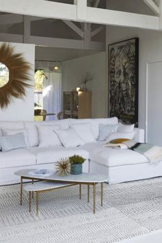 The curvy lines of this coffee table remind me of a surf board. Super elegant, and will never look out of place in marble and brass finish. Adelong coffee table by AMPM at La Redoute (affiliate). Surf Board, Home Goods, Marble, Curvy, It Is Finished, Brass, Interiors, Coffee, Elegant