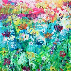 Neon acyrlic wild flower floral painting by Catrin Saywell
