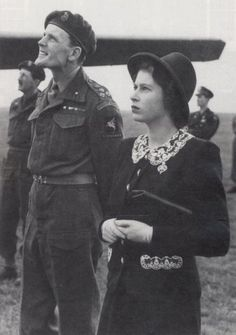 britishskytours:  Princess Elizabeth with Brigadier James Hill on a visit to the 6th Airborne Division in late May 1944, shortly before D-Day.