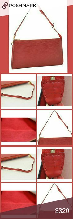 Auth Louis Vuitton Epi Pochette In Red Authentic Louis Vuitton Epi Pochette Accessoires Pouch Red   in overall good condition, Leather Epi is in excellent shape, Red leather strap has a split but fully usable to tearing or cracks on each side   inside pochette is in very good condition, no damage to the red lining, there're minor scratches and rubbing on the metal  Date code: AR1000  Made in France  Pochette could also be used as a crossbody by adding a gold tone strap to each end, does look…