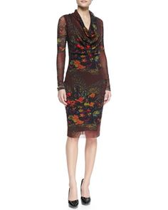 Long-Sleeve Cowl-Neck Floral-Print Dress, Brown/Multi by Jean Paul Gaultier at Neiman Marcus.