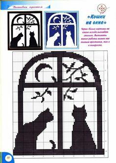 Grille c2c crochet chats à la fenêtre