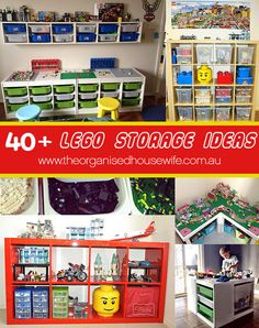 40+ Awesome Lego Storage Ideas » The Organised Housewife -  Love a lot of these ideas and organizing the blocks into colors.....Gavin would be in heaven!!!