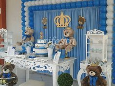 Decoração de festa infantil, chá de bebê, batizados, buffet em domicilio, decoração provençal, rustica e mais. Teddy Bear Party, Teddy Bear Baby Shower, Baby Boy Shower, Baby Shawer, Baby Momma, Baby Shower Parties, Baby Shower Themes, Royal Baby Showers, Bear Decor