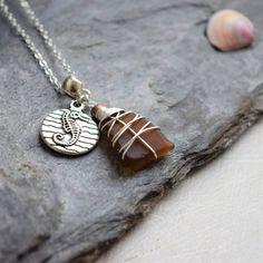 Seahorse Pendant with Genuine Irish Seaglass - Tidal Soul Studio Irish Jewelry, Boho Jewelry, Jewelry Gifts, Jewelry Box, Jewelry Making, Jewellery, Beach Accessories, Sea Glass Jewelry, Boho Necklace