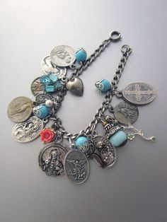 Religious Charm Bracelet, Vintage Medals, Blue Beads, Repurposed Jewelry, Saint Medal Bracelet