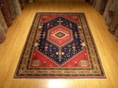 7 X 10 Very Fine Handmade Natural Veggetable Dye Wool Sheravan KAZAK Afghan Rug