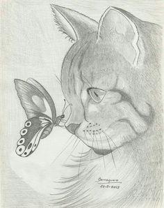 Kot z motylkiem Cool Art Drawings, Pencil Art Drawings, Art Drawings Sketches, Cat Drawing, Easy Drawings, Painting & Drawing, Animal Sketches, Animal Drawings, Art Carte