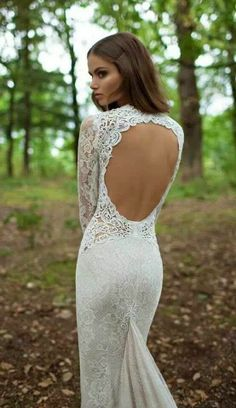 Charming Open Back Long Lace Wedding Dress, Love It