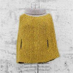 Simple sideways garter stitch poncho with arm holes chunky yarn Mode Crochet, Crochet Diy, Crochet Shawl, Crochet Style, Knitting Patterns, Crochet Patterns, Knitted Cape, How To Purl Knit, Garter Stitch