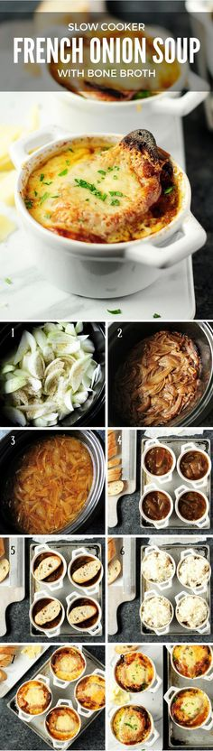 Let this healthy soothing slow cooker French onion soup cook itself while youre busy with other things. Make it with bone broth for a boost of collagen. It can also be made vegetarian using vegetable broth. Slow Cooker Soup, Slow Cooker Recipes, Crockpot Recipes, Soup Recipes, Family Recipes, Kitchen Recipes, Free Recipes, Party Recipes, Recipies