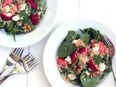 Spinach Strawberry Quinoa Salad with Feta and Walnuts