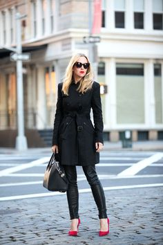 all black but red heels and lips