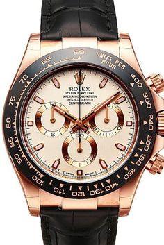 Rolex Daytona Pink Gold Strap Watch, White Index Dial: Watches: expensive watches for men Rolex Daytona Gold, Rolex Cosmograph Daytona, Rolex Submariner, Sport Watches, Cool Watches, Rolex Watches, Dream Watches, Unique Watches, Men Accessories