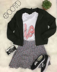 Happy Sunday! Need a cute and casual outfit for the day? We got you! Come check us out @ Harwood Heights | Tank: Brandy Melville S $6 | | Jacket: Forever 21 S $12 | | Skirt: Hollister XS $6 | | Shoes: Van's 7 $20 | note: props not for sale http://ift.tt/2vznLEi - http://ift.tt/1HQJd81