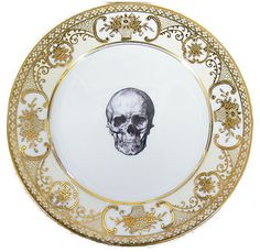 upcycled skull design gold salad plate by melody rose.