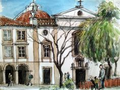 https://flic.kr/p/bF9vx5 | croquis aquarellé: Faro - Portugal | croquis sur place: stylo à bille et aquarelle / on location pointball pen sketch with wash...