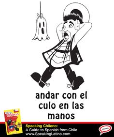 Chilean Spanish Expression:  Andar con el culo en las manos | Meaning: 1) to be scared witless 2) to be worried about something #LearnSpanish #Chile