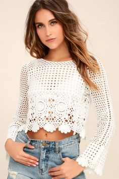 c3a47c43a1f01 Lulus | Crystal Grid White Crochet Long Sleeve Crop Top | Size Small | 100%  Cotton