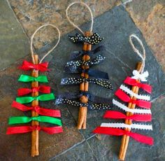 Quick and easy to make, these Cinnamon Stick Christmas Ornaments will add a darling look to your Christmas Tree. They also make for a great attachment on a wrapped present. Oh and neighbor gifts! What a cute gift to give to your neighbors! Stick Christmas Tree, Christmas Ornaments To Make, Easy Christmas Crafts, How To Make Ornaments, Simple Christmas, Kids Christmas, Christmas Decorations, Homemade Ornaments, Homemade Christmas