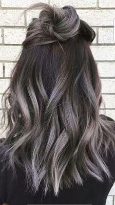 black hair grey highlights