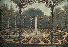 Widok rosarium w Ashridge – Humphry Repton, XVIII/XIX w. Repton wprowadził lub przywrócił wiele elementów, które stały się później stałymi częściami ogrodów XIX wieku. Jednymi z nich były tarasy i partery kwiatowe w sąsiedztwie budowli mieszkalnej, stanowiące strefę przejściową do ogrodu krajobrazowego. Unikał wprowadzania trawnika pod sam budynek, tak jak czynił to Lancelot Brown.