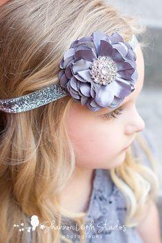 Platinum Gray Headband Gray Satin Mesh Flower On Glitter Elastic Headband. $14.00, via Etsy.