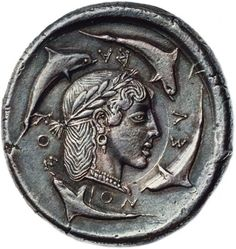 archaicwonder:  The rare Demareteion (decadrachm) of Syracuse, Sicily c. 480-479 BC Demareteion is the name given in antiquity to a coin of Syracuse. The early Syracusan decadrachm was named the Demareteion because it was thought to have been struck from the proceeds of a gift of one hundred talents of gold made by the defeated Carthaginians to Demarete, the wife of the tyrant Gelon of Syracuse. However, this theory was later overturned. The dies of the decadrachms and the related…