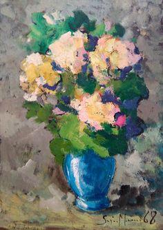 Vintage Italian painting flowerpot oil canvas artwork di Modiarte