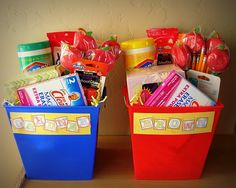 back to school teacher gifts. GREAT idea. Teachers have to pay SO much out of pocket for supplies!!