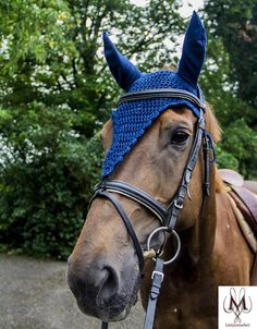 Lang model oornetje blauw lange blauw vliegenmuts navy, fly bonnet navy bleu, royal blue fly bonnet, horse fly veil, horse veil, chessnut horse, long fly bonnet, ear bonnet, gift for her, gift for him