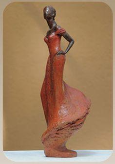 ANK - sculpture en Terre cuite patinée
