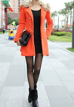 Price:$39.99 Material: Wool Color: Orange / Navy Blue / Black Detachable Collar Double Breast Slim Fit Tunic Coat Long Jacket Dress