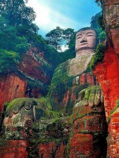 The Leshan Giant Buddha was built during the Tang Dynasty (618–907AD). It is carved out of a cliff face that lies at the confluence of the Minjiang, Dadu and Qingyi rivers in the southern part of Sichuan province in China, near the city of Leshan.