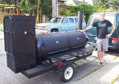 The offset smoker. Cooked about 200 lbs of meat in it last Saturday.  Lotsa work but many happy people.