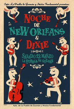 NOCHE DE NEW ORLEANS & DIXIE  Poster concierto  por Bunker Graphics