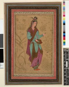 Painting; portrait of a lady delicately holding a small cup. Woman stands, in three-quarter profile facing the right, wearing a long dress with ends tucked into the sash tied around her waist, revealing her decorated pants underneath. A shawl wraps around her shoulders, while an ornamented hat (protruding feathers and detailed head scarf) adorn her head. Void background. No inscription. Painted in opaque watercolour on paper.  Attributed to: Sádiq Isfahan Style Persian Date17thC(early)