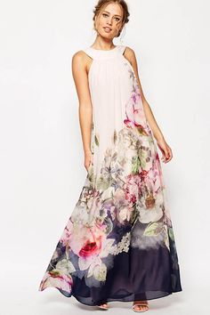 Free shipping!Hualong Evening Party Sleeveless White Floral Maxi Dress.It's flattering and fun with floral printing, sleeveless adds a sensual appeal.