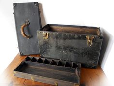 Vintage Large Industrial Wooden Tool Box / by crazeecowgirlvintage, $145.00