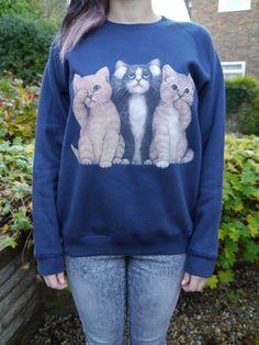 Wildlife Three Cats Cat jumper, Cat sweatshirt, Cat sweater, Cats, Pets, Animals, Unisex, New on Etsy, $33.52