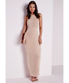 Slinky Maxi Dress Nude - Dresses - Maxi Dresses - Missguided