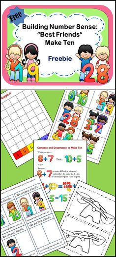 """""""Best Friends"""" Make Ten is a free product from Dazzle on a Dime.  It is just the beginning of the many activities, work stations, posters, games, and tools you will need when building a foundation for number sense. Teachers in Pre-K through 1st grade  will love these pages and will want to visit www.teacherspayteachers.com/Store/Dazzle-On-A-Dime to find more."""