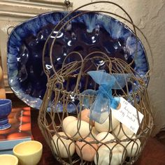 """Antique egg basket and blown eggs from our """"girls""""!"""