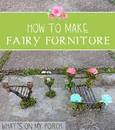 garden furniture How to make fairy furniture for a fairy garden Indoor Fairy Gardens, Mini Fairy Garden, Fairy Garden Houses, Gnome Garden, Miniature Fairy Gardens, Miniature Fairies, Fairy Gardening, Miniature Crafts, Fairy Crafts
