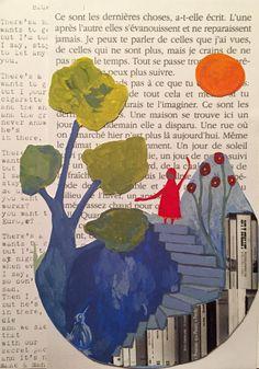 Les livres! gouache sur papier/pages de livres tumblr : laurehelene-or