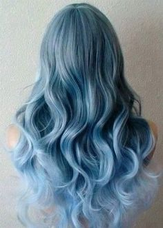 Items similar to Pastel Blue Ombre wig. long curly blue wig with side bangs. on Etsy Curly Blue Hair, Curly Hair Styles, Blue Wig, Baby Blue Hair, Blonde Hair, Emo Hair, Green Hair, Purple Hair, Smokey Blue Hair