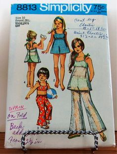 Vtg Simplicity Pattern 8813 Girls Bathing Suit Sz10 B28-/2 H30 Copyright 1970