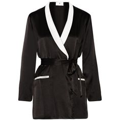 Fleur Du Mal + Playboy two-tone silk-satin robe ($250) ❤ liked on Polyvore featuring intimates, robes, black, fleur du mal, tie belt, dressing gown, silk satin robe and bath robes