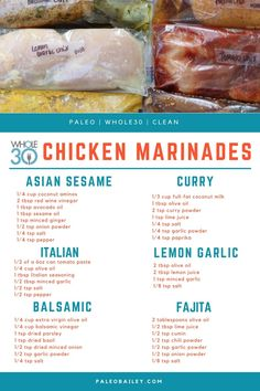 6 Compliant DIY Freezer Chicken Marinades - Whole Ki.- 6 Compliant DIY Freezer Chicken Marinades – Whole Kitchen Sink 6 Compliant DIY Freezer Chicken Marinades - Whole Chicken Marinade, Chicken Marinade Recipes, Healthy Chicken Marinades, Homemade Marinades For Chicken, Marinade Sauce, Italian Dressing Chicken Marinade, Chicken Breast Marinades, Seasoning For Chicken, Chicken On The Grill